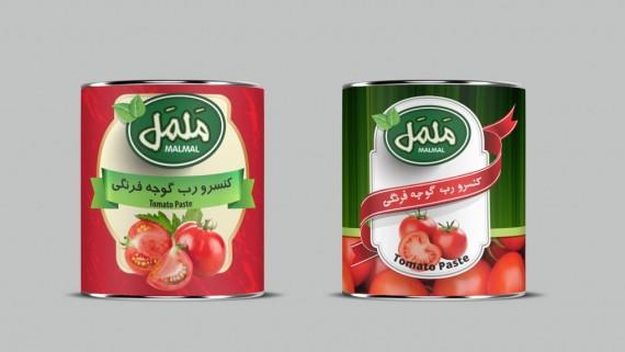 طراحی بسته بندی کنسرو رب گوجه فرنگی راضیه - -