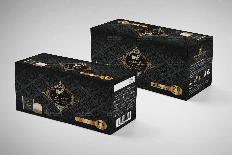 طراحی جعبه چای تی بگ عقرب -  -