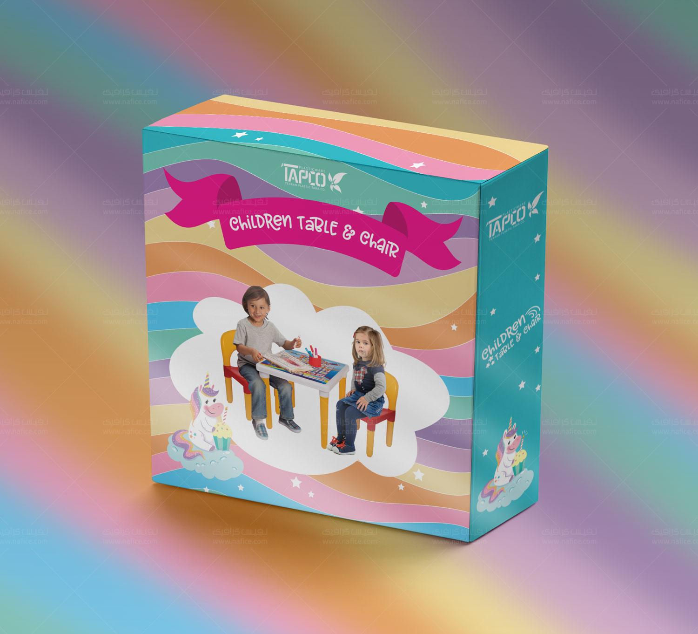 چاپ و طراحی جعبه لمینیتی میز و صندلی کودک تاپکو -  -